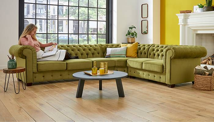 canapé d'angle Chesterfield vert olive